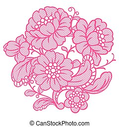 Lace ornamental decoration with flowers.