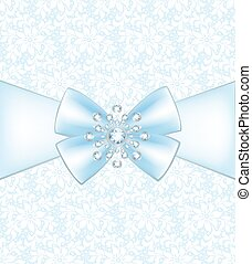 Lace pattern - Blue bow with diamond decoration on lace...