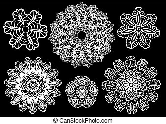 Delicate lace doilies, vector pattern