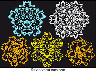 lace pattern, vector - set of lace doilies, vector pattern