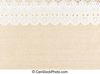 Lace - Burlap and white Lace with over fabric texture design...