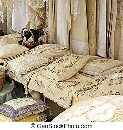 Lace pillows in the souvenir shop, Cyprus
