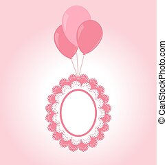 Lace pink baby frame on air balls