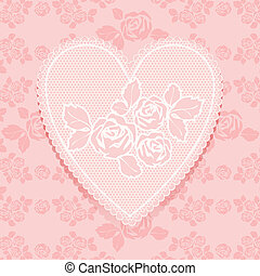 Lace pink in heart shape