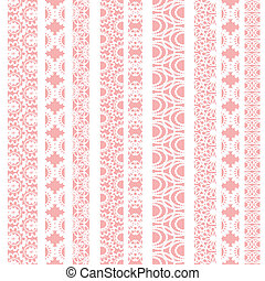 Lace ribbons vector fabric seamless pattern