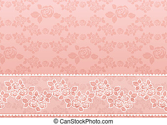 Lace Rose, Flower background with lace, seamless template, vector