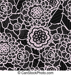 Lace seamless pattern with abstract elements. Vector floral background. Hand Drawn Texture. Decorative Flowers drawing. Doodle artwork. Black and purple Zentagle illustration.Bohemian summer ornament.