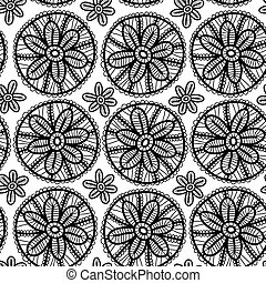 Lace seamless pattern with black flowers on white background. Vector