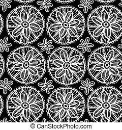 Lace seamless pattern with flowers and leaves. black and white background. Vector