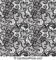 Lace seamless pattern with flowers - Lace black seamless...