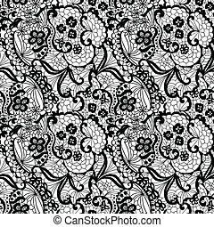 Lace seamless pattern with flowers - Lace black seamless ...