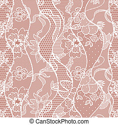 Lace seamless pattern with flowers on beige background