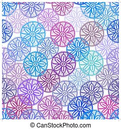 Lace seamless pattern with lilac pink purple blue flowers on white background. Pastel colors, abstract art. Vector