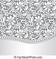 lace, silk and pearl - Vector template for wedding, ...