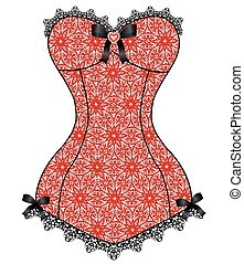 lace vintage corset - Red lace corset with black lace and ...
