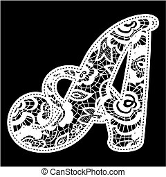 illustration of embroidery lace initial isolated on black, ideal for wedding invitation or decoration