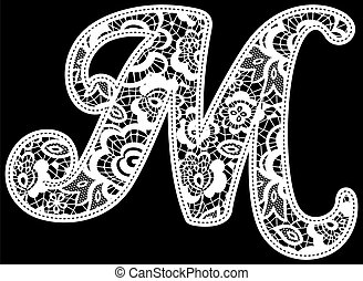 lace wedding initial m - illustration of embroidery lace...