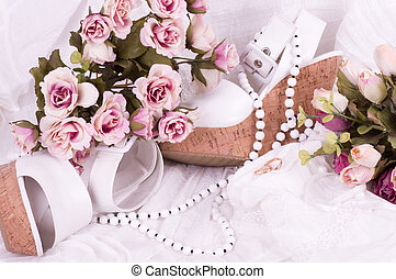 lace with flowers, shoe