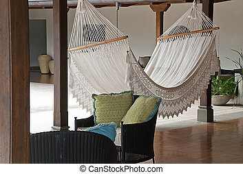 Laced hammock in the tropics