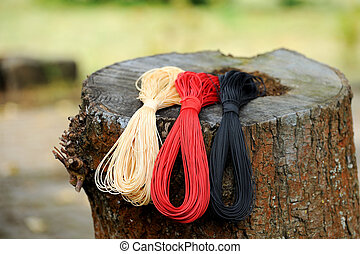 Laces on a wooden background