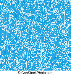 Lacey blue and white blossoms seamless pattern background -...