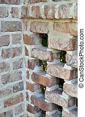 Lacey brick work - An old fence of open brick work