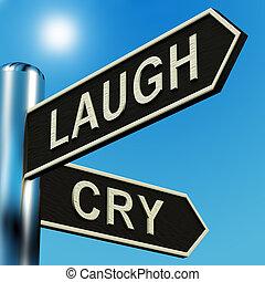 lach, of, huilen, richtingen, op, een, wegwijzer