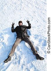 lach, sneeuw, back, jeugd, ligt, overwinning, handen, gebaar, optredens