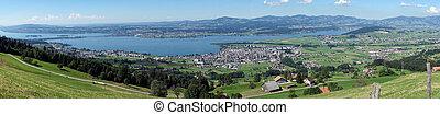Lachen and lacke Zurich - Panorama of Lachen and lake Zurich