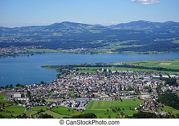 Lachen and lacke Zurich - View of Lachen and lake Zurich in...