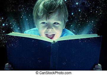 lachen, kleine, jongen, met, de, magisch, boek
