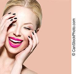 lachen, mooi, jonge vrouw , met, schoonmaken, fris, huid