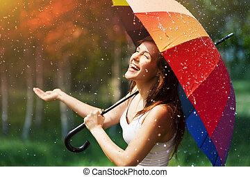 lachen, vrouw met paraplu, controleren, voor, regen