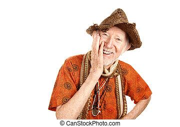 lachender, älterer mann