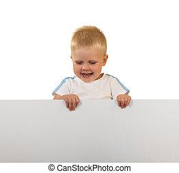 lachender, kleiner junge, besitz, a, banner, freigestellt, weiß