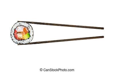 lachs, sushi- rolle, garnelen, avocado
