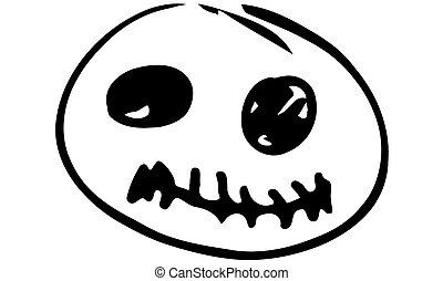 sketch funny cartoon pumpkin with eyesh