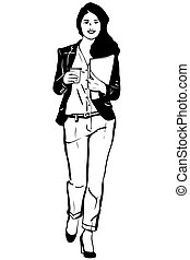 sketch of a young student is wearing pants and coffee