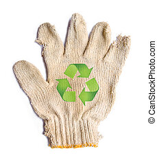 lack gloves fabric garbage with recycle recycle sign...