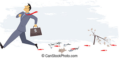 Smug businessman marching, stepping on things and leaving a bloody rail, concept vector illustration