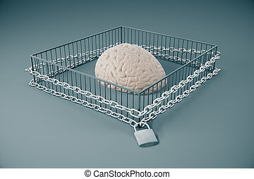 Lack of free thinking concept with brain locked in cage with...