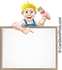 lackierer, dekorateurin, zeichen