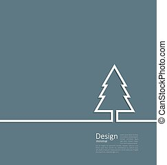 Laconic design of xmas tree fir on cleaness line flat template c