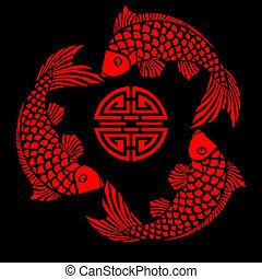 Simple design of fish circling a longevity symbol, inspired by asian lacquerwork. The file can be scaled to any size.