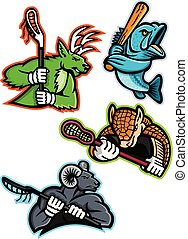 Lacrosse and Baseball Sports Mascot Collection
