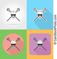 lacrosse, apartamento, ícones, ilustração, equipamento, vetorial