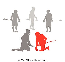 lacrosse, begreb, vinder, spiller, vektor, baggrund,...