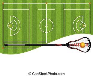 lacrosse, campo, palo, ilustración