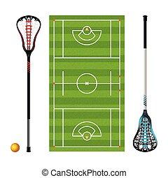 lacrosse, campo, pelotas, palos