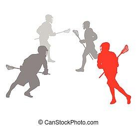 lacrosse, concept, gagnant, joueur, vecteur, fond, action